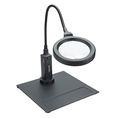 Carson MagniFlex Pro 2x LED Lighted Gooseneck Flexible Magnifier with 4x Spots Lens and Magnetic Base (CP-90): Camera & Photo
