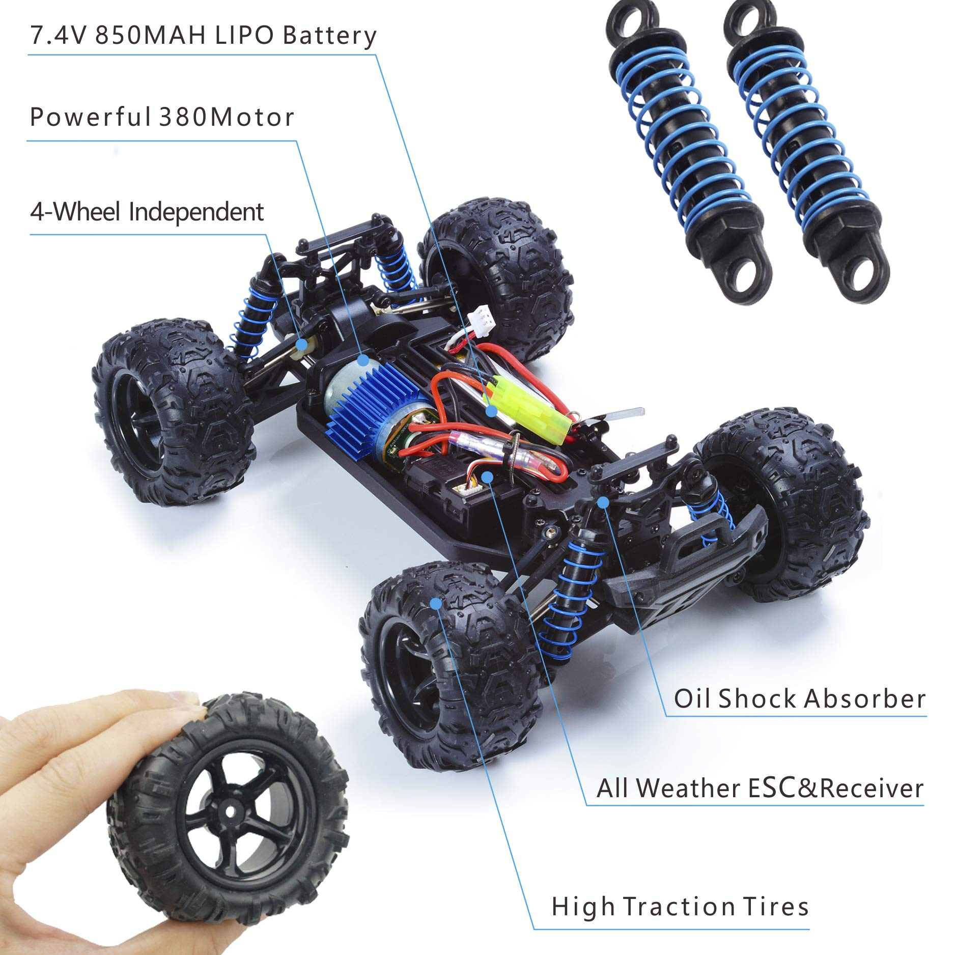 EXERCISE N PLAY RC Car, Remote Control Car, Terrain RC Cars, Electric Remote Control Off Road Monster Truck, 1:18 Scale 2.4Ghz Radio 4WD Fast 30+ MPH RC Car, with 2 Rechargeable Batteries by EXERCISE N PLAY (Image #2)
