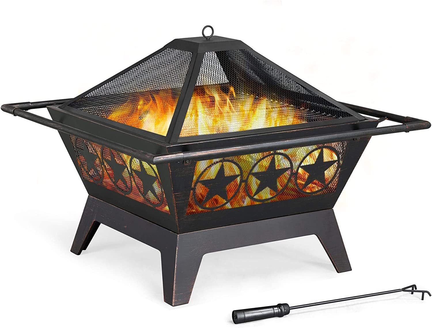 Amazon Com Yaheetech 32in Outdoor Fire Pit Metal Square Firepit Wood Burning Backyard Patio Garden Beaches Camping Picnic Bonfire Stove With Spark Screen Log Poker And Cover Garden Outdoor