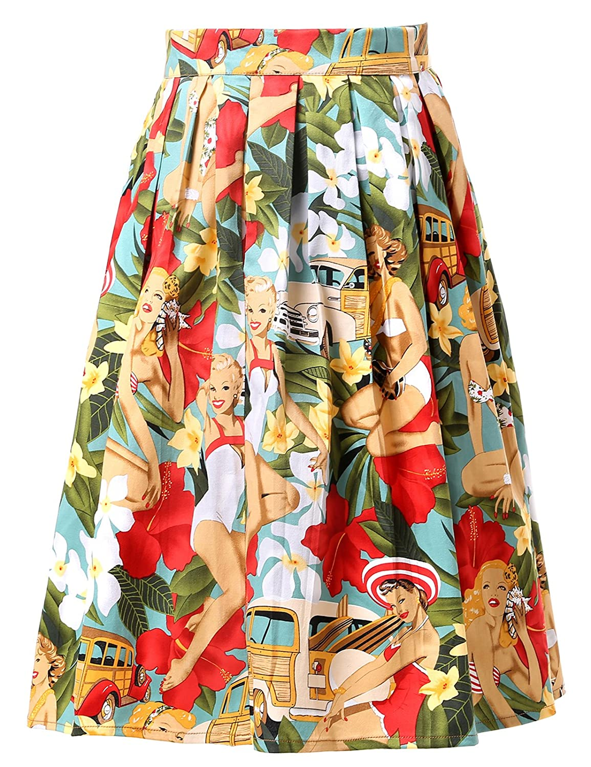 a6c725009e2f GRACE KARIN 50S Vintage Floral A-Line Pleated Skirt Swing Full Circle Skirt   Amazon.co.uk  Clothing
