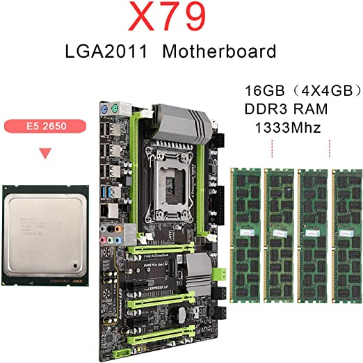 Semoic Placa Base X79 LGA2011 Combo con CPU E5 2650 4-Ch 16GB ...