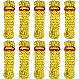 FLYFLYGO ロープ 反射材入り テントロープ タープロープガイロープ パラコード 約4m*径5mm 6本/10本セット アルミ製自在 収納ケース付き
