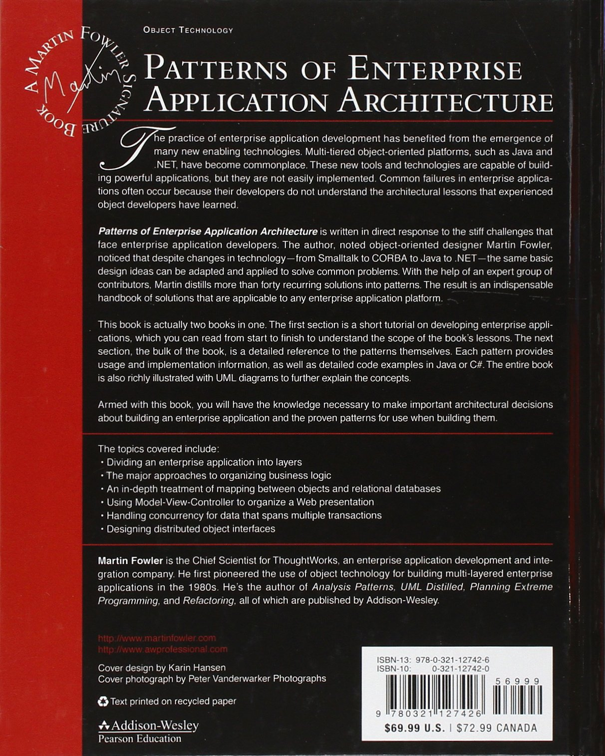 Patterns of Enterprise Application Architecture by Addison-Wesley Professional