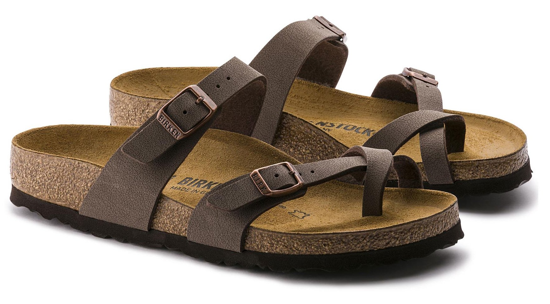 Mayari (Women's) Cork-Footbed Flat Sandals in Mocha Brown [New Style] (39 M EU / 8-8.5 B(M) US Women) by Mayari by Birkenstock