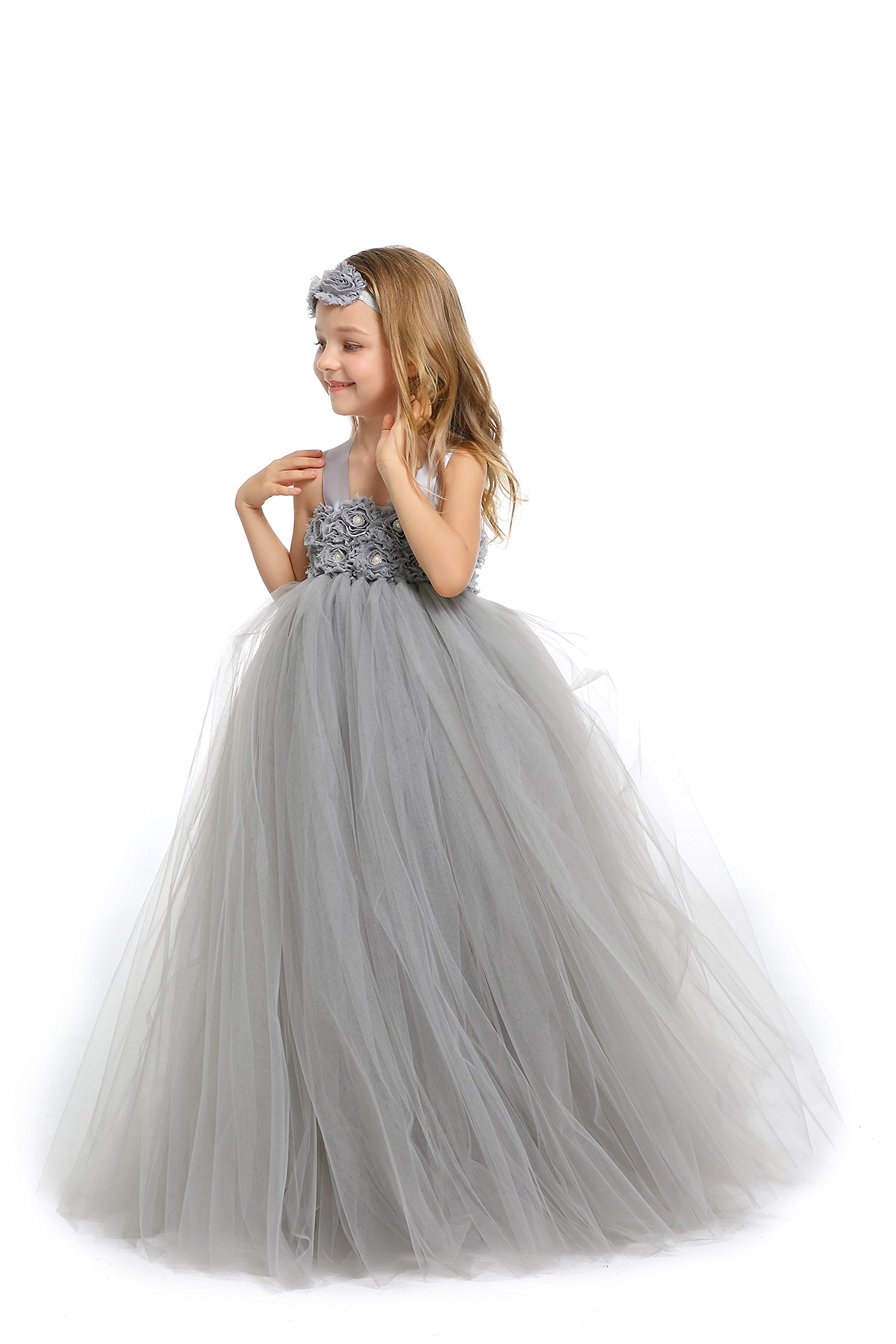 MALIBULICo Fluffy Flower Girl Tutu Dress with Matching Headband for Wedding and Birthday Party by MALIBULICo (Image #2)