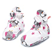Baby Booties Cozie Girls Boys Newborn 100% Cotton Shoes Socks with Non-slip Mat (Owl, 3-6 M)