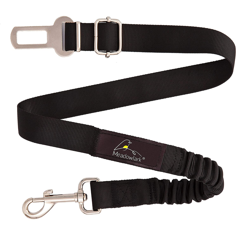 Meadowlark/® Hunde Sicherheitsgurt f/ür Auto universale Sicherheitsleine f/ür Hunde Verstellbarer Haustier Sicherheitsgurt mit elastischer Ruckd/ämpfung
