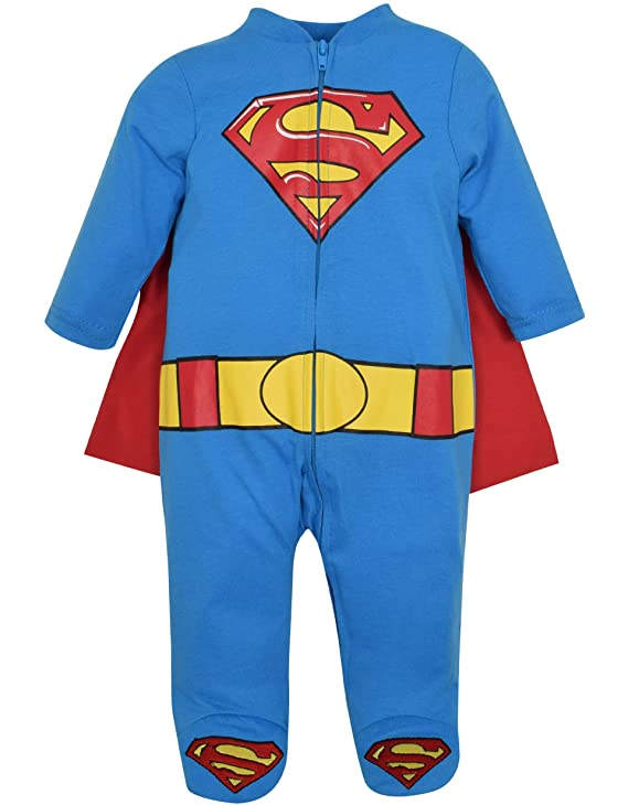 Amazon.com: Warner Bros...... Superman Footed Costume Coverall with Cape Blue: Clothing