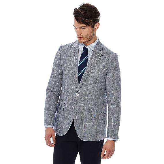 5503a70a51bd Debenhams Hammond & Co. by Patrick Grant Men Grey Checked Linen Blend Blazer  42R