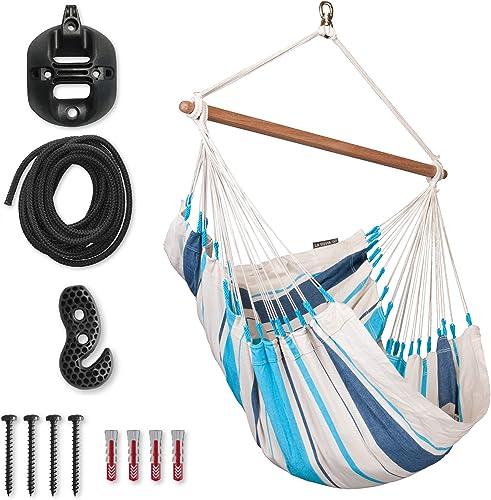 LA SIESTA Caribena Aqua Blue – Cotton Basic Hammock Swing Chair with CasaMount Black Multipurpose Suspension