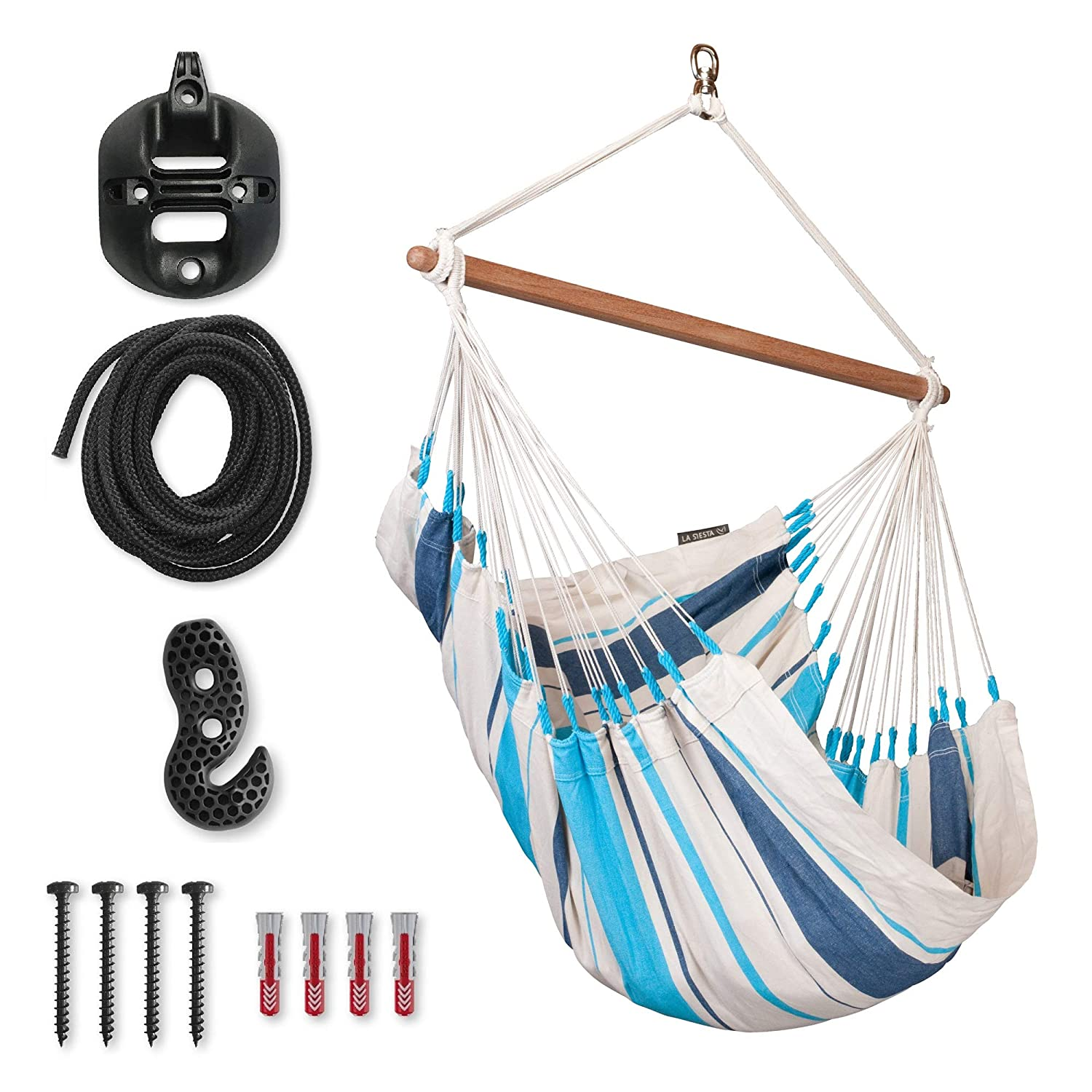 LA SIESTA Caribena Aqua Blue – Cotton Basic Hammock Swing Chair with CasaMount Black Multipurpose Suspension