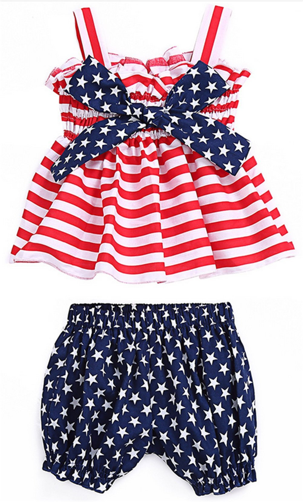 Baby Girls 4th of July Star Stripe Strap Ruffle Tops Blouse+Shorts 2Pcs Set Size 12-18 Months (Red)