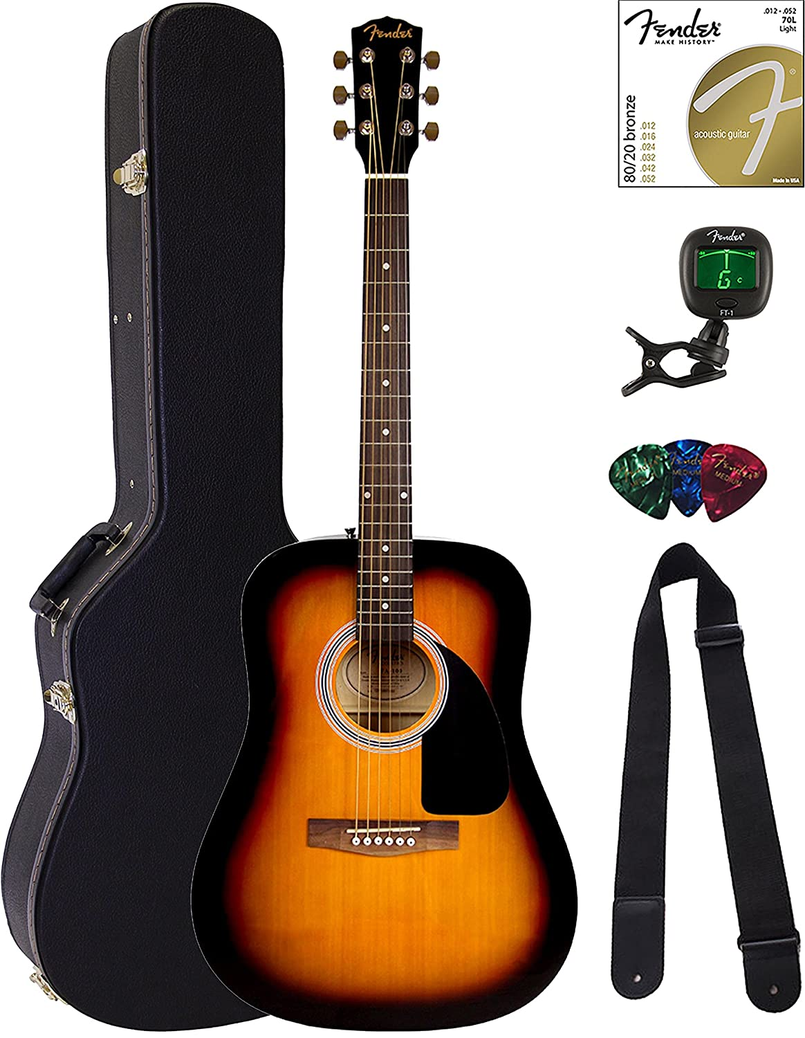 Fender FA-115 Dreadnought Acoustic Guitar - Sunburst Bundle with Gig Bag, Tuner, Strings, Strap, and Picks 0971110532-COMBO-FGPAC1