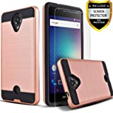 Blu R1 HD Case, 2-Piece Style Hybrid Shockproof Hard Case Cover With [Premium Screen Protector] + Circle(TM) Stylus Touch Screen Pen Rose Gold