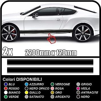 Grafic 2x Doppelstreifen Seitenstreifen Aufkleber Dekorstreifen Autotattoo Aufkleber Weiss Auto
