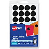 """Avery 05459 Handwrite Only Removable Round Color-Coding Labels, 3/4"""" dia, Black (Pack of 1008)"""