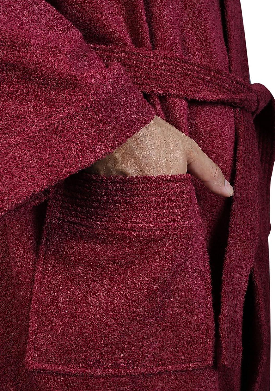 Arus Mens Short Kimono Bathrobe Turkish Cotton Terry Cloth Robe
