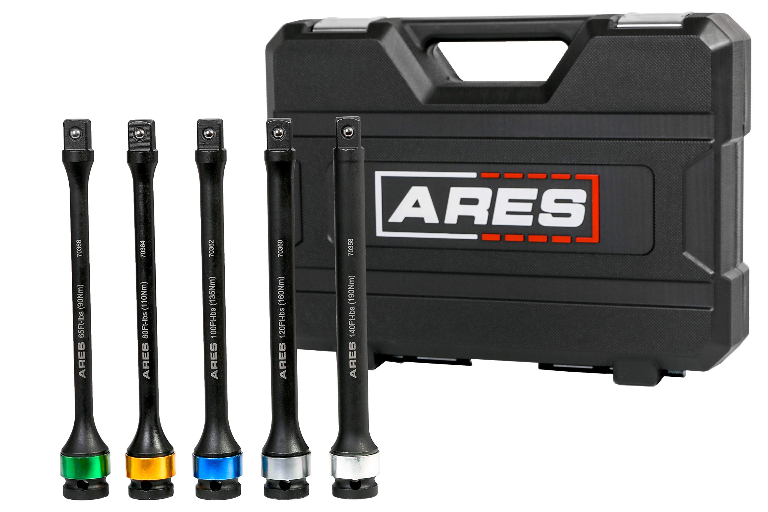 ARES 70367 - Torque Limiting Extension Bar Set - Chrome Moly 1/2-Inch Drive 8-Inch Long Impact Grade Bars - Flex Action Prevents Over-Tightening - Color Coded for Easy Identification by ARES