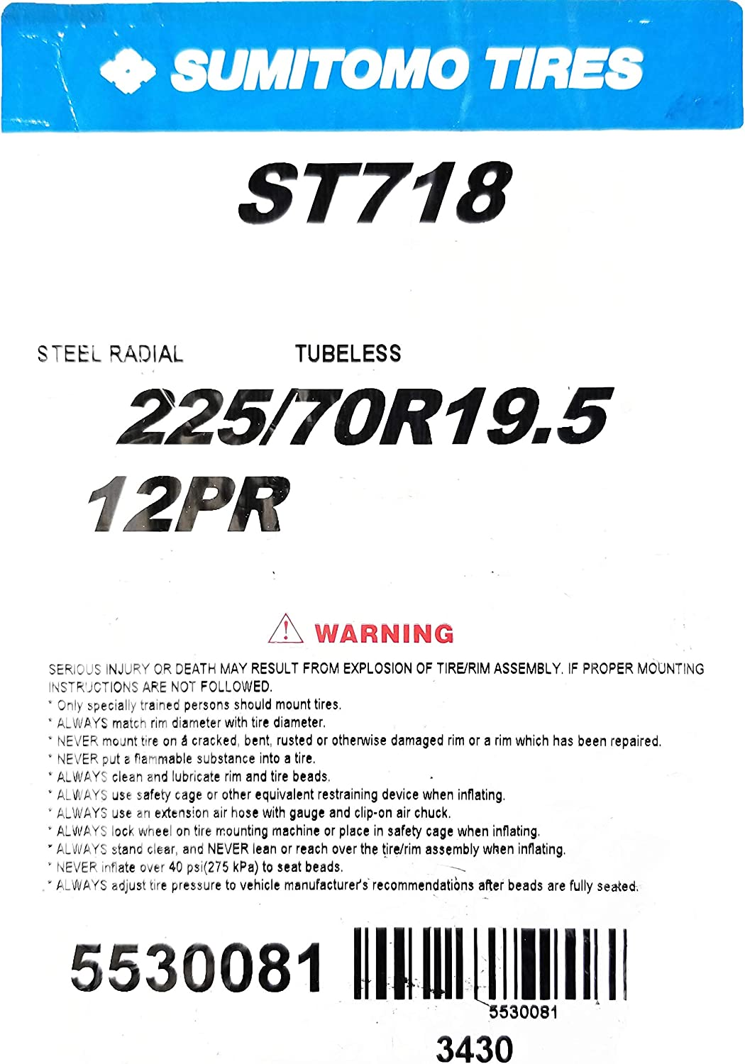 SUMITOMO ST718 Commercial Truck Tire 225//70-19.5 125D