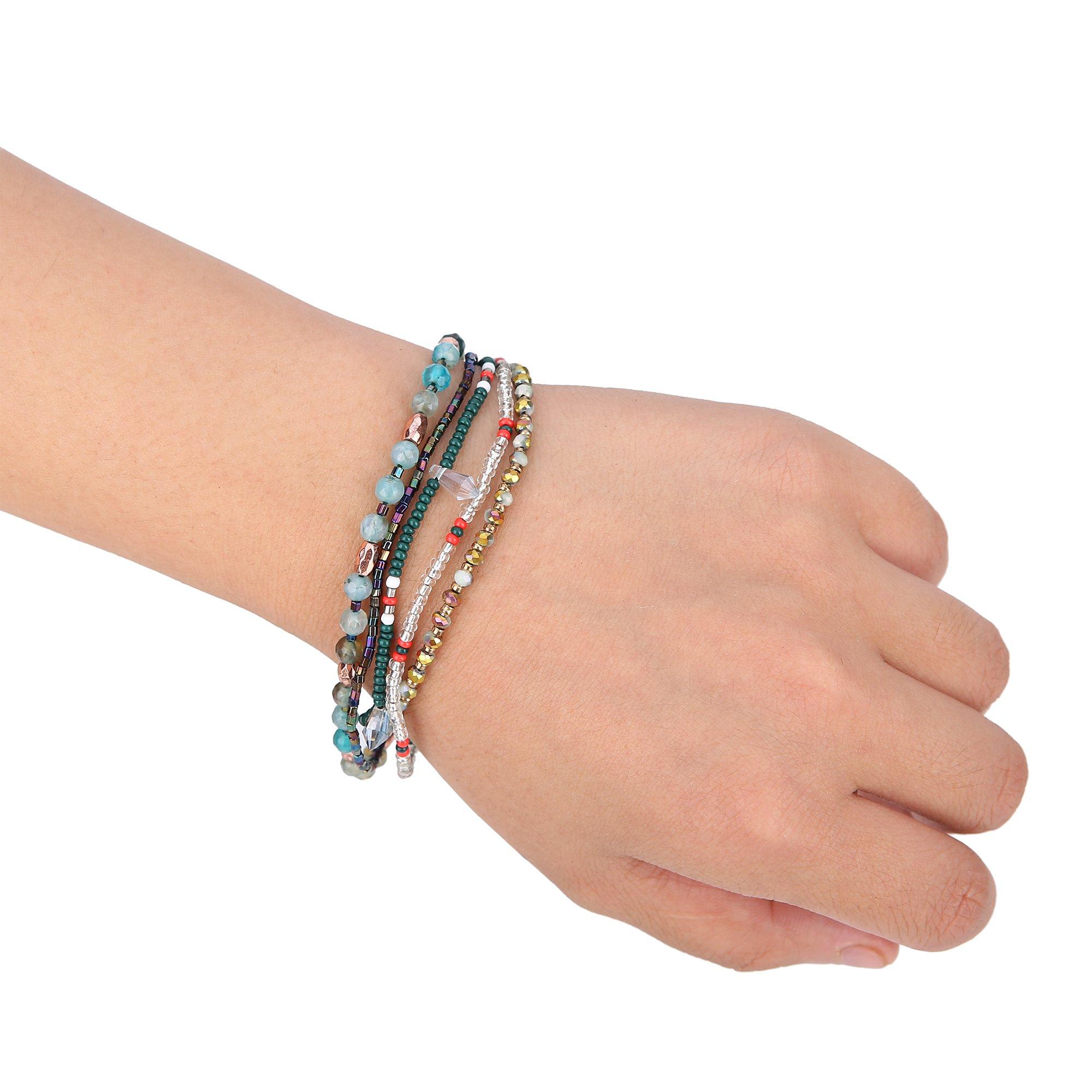 Joya Gift Adjustable Wrap Bracelet Bohemian Braided Beads Summer Beach Anklet for Women Girls by Joya Gift (Image #5)