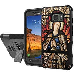 [AT&T] Galaxy [Active S7] Armor Case [NakedShield] [Black/Black] Urban Shockproof Defender [Kick Stand] - [St Mary] for Samsung Galaxy [S7 Active]