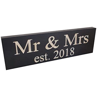 """Wedding Sign: Made from Solid Reclaimed Wood & Individually Carved - Made in The USA - Lightweight, Handmade, Wedding Decor - Newlywed Gifts - Home Decoration - 11.5"""" x 3.5"""" (Mr. & Mrs. 2018)"""