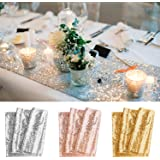 BeeViuc 30 x 275 cm Glitter Sequin Table Runner Sparkly Wedding Party Deco, Gold
