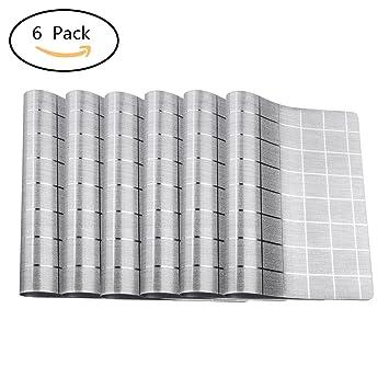 Platzdeckchen Abwaschbar 6er Set Glatte Oberflächen Pvc Rutschfest