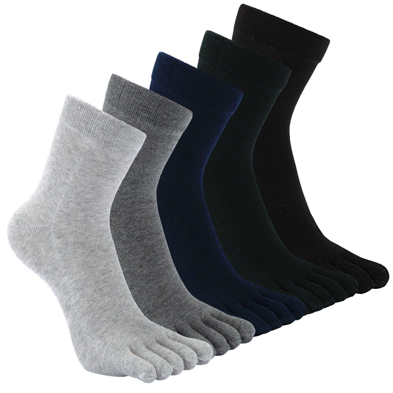 Calcetines con cinco dedos para hombre, Calcetines de algodón, Calcetines cómodos para los deportes de carrera Calcetines de algodón Calcetines cómodos para los deportes de carrera CDNMT140-Mixed color-5 Pack