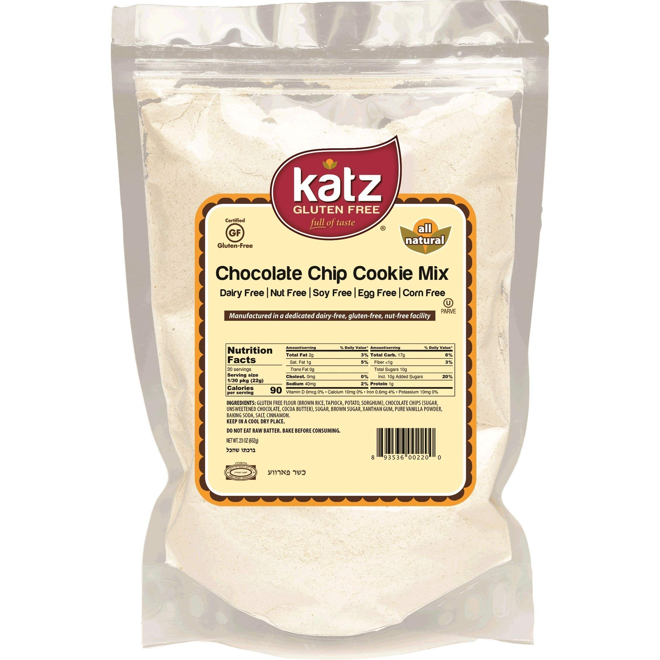 Katz Gluten Free Chocolate Chip Cookie Mix   Dairy, Nut, Soy and Gluten Free   Kosher (1 Pack, 23 Ounce)