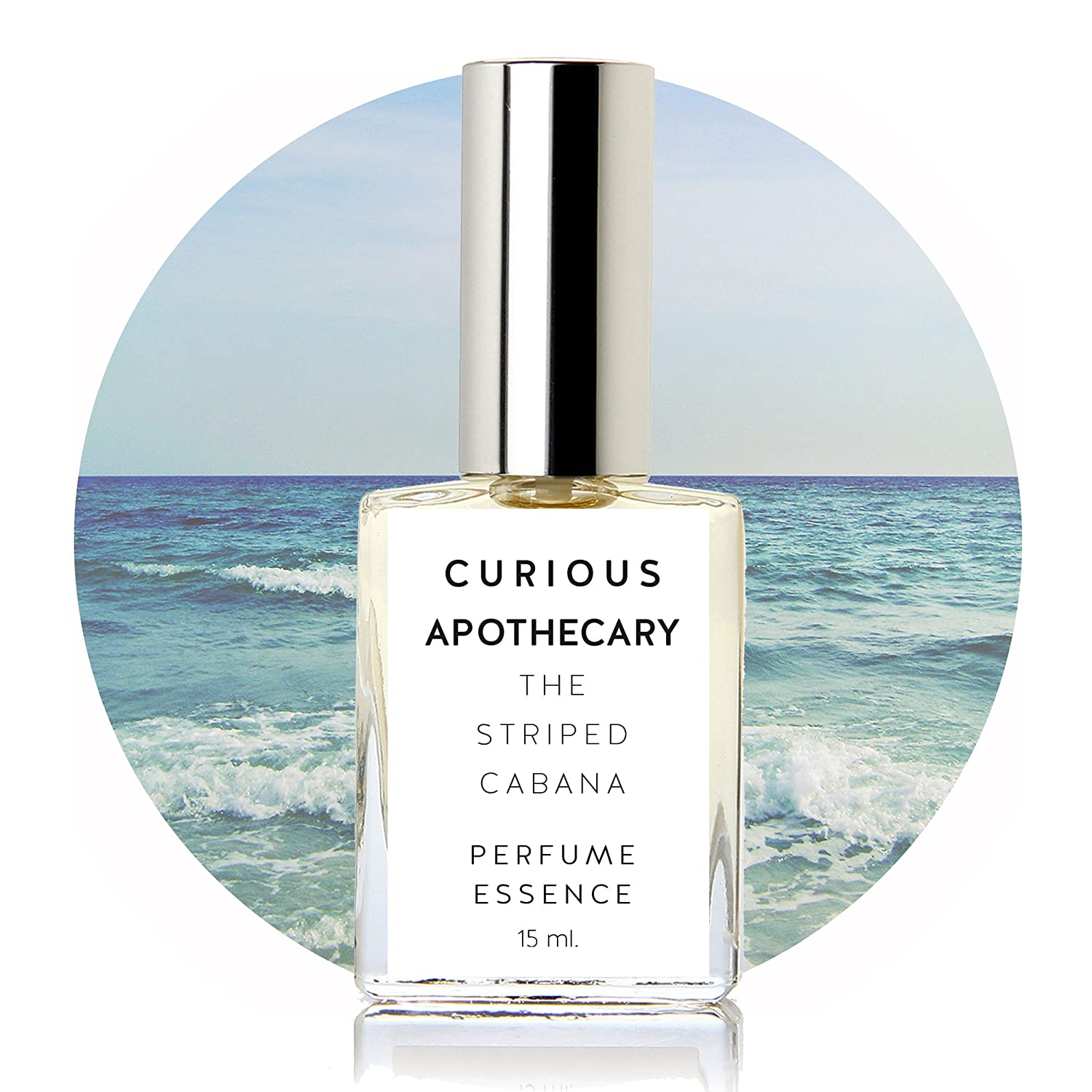 Curious Apothecary The Striped Cabana Coconut Milk Tropical Floral perfume for women. Inspired sophisticated beach women's fragrance 15 ml