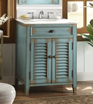26u0026quot; Cottage Look Abbeville Bathroom Sink Vanity   Blue Model CF 28883BU