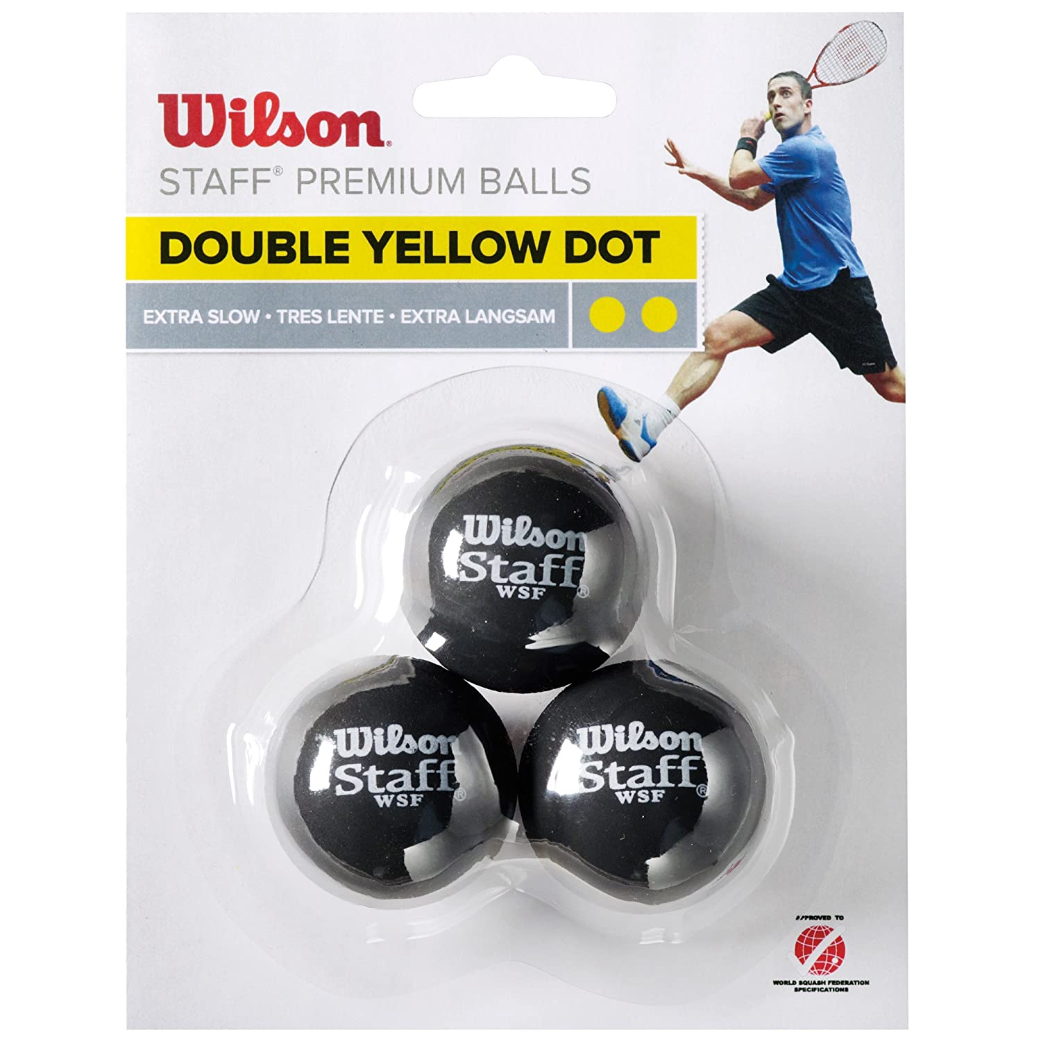 Wilson Staff Squash Balls  Extra Slow (Competitors), Black (Double Yellow Dot), Pack of 3