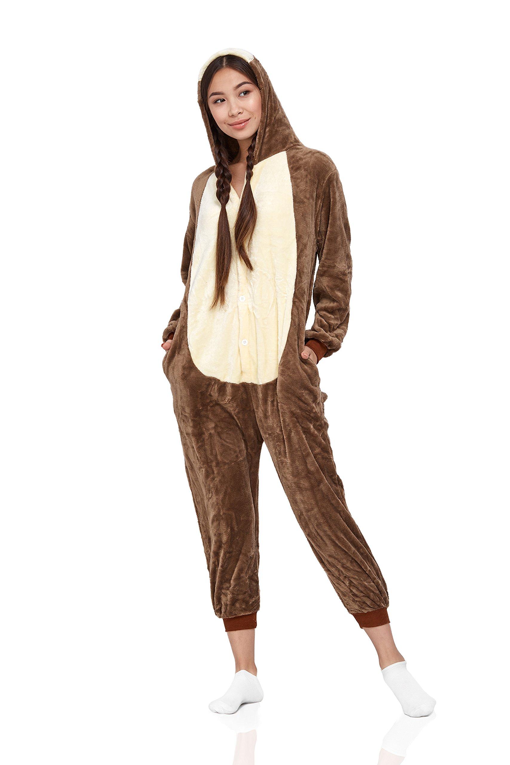 Nothing But Love Adult Ground Squirrel Pajamas Animal Kigurumi Onesie One Piece Cosplay Costume (X-Large, Brown)