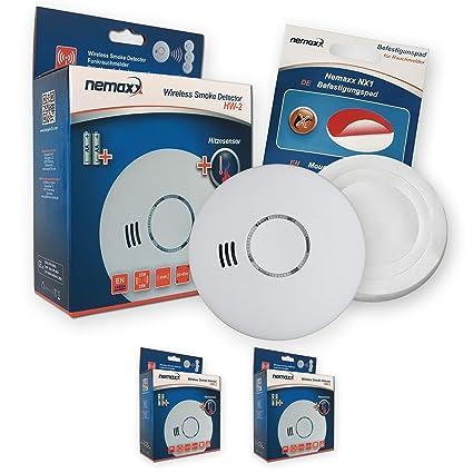 2 x Nemaxx HW-2 detectores de Humos sin Hilos detectores de Humo detectores de Calor ...