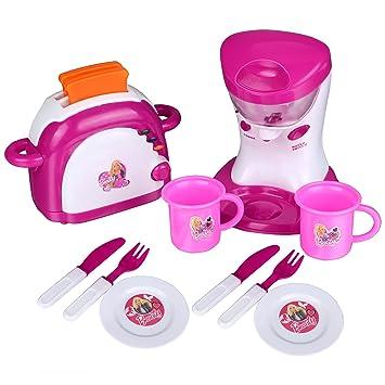 Gernice Spielküche Kochzubehör Mit Toaster, Wasserkocher, Geschirr Und  Frühstück Set Kinder Spielzeug