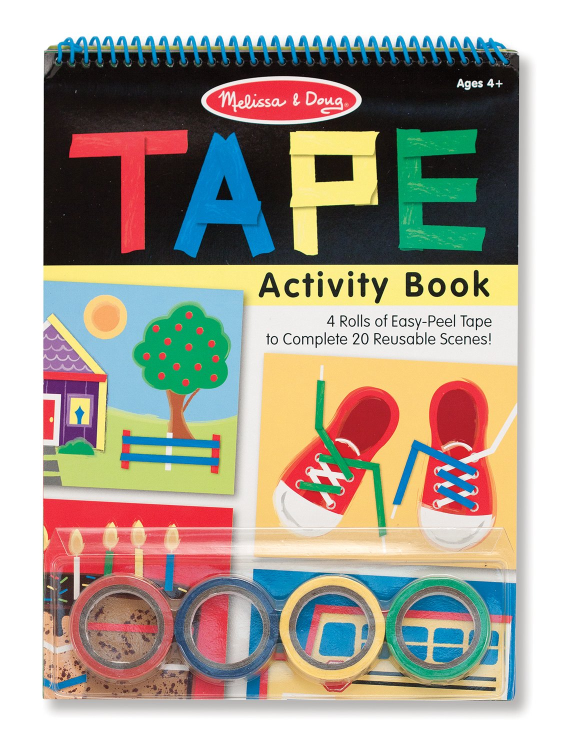 amazoncom melissa doug tape activity book 4 rolls of easy tear tape and 20 reusable scenes melissa doug toys games