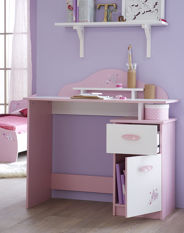 Demeyere Papillon 1Door 1Drawer Desk Wood OrchidWhite
