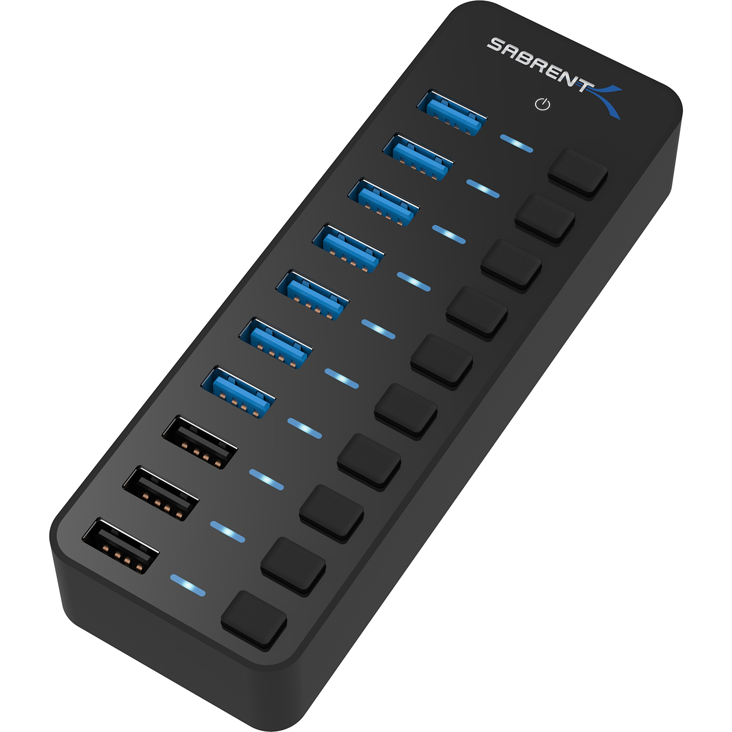 Sabrent 60W 7-Port USB 3.0 Hub + 3 Smart Charging Ports with Individual Power Switches and LEDs includes 60W 12V/5A power adapter (HB-B7C3) by Sabrent (Image #1)