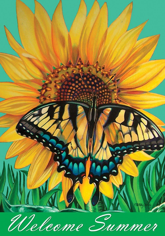 Toland Home Garden 119449 Swallowtail Sunflower 12.5 x 18 Inch Decorative, Garden Flag (12.5