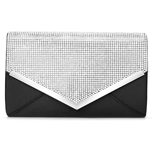 f5e91d54ef8f3 CurvChic Women Evening Bag Clutch Purse Rhinestone-Studded Flap for Wedding  Prom Cocktail Party (