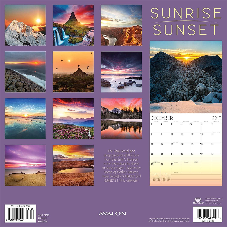 Sunrise//Sunset 12 x 12 inches 2019 Wall Calendar 82379
