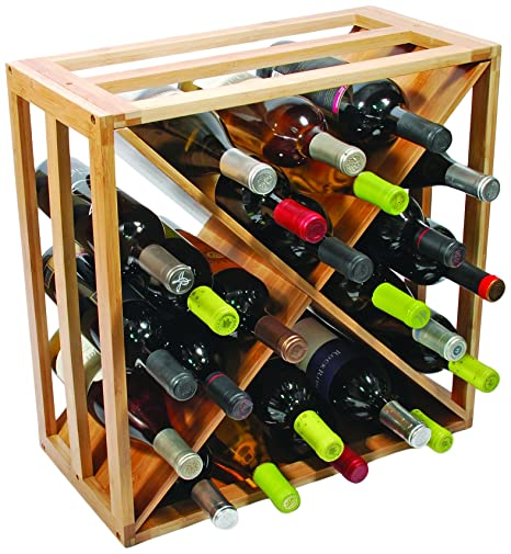 True Vino Natural Wood Crisscross Wine Rack For 24 Bottles Amazon