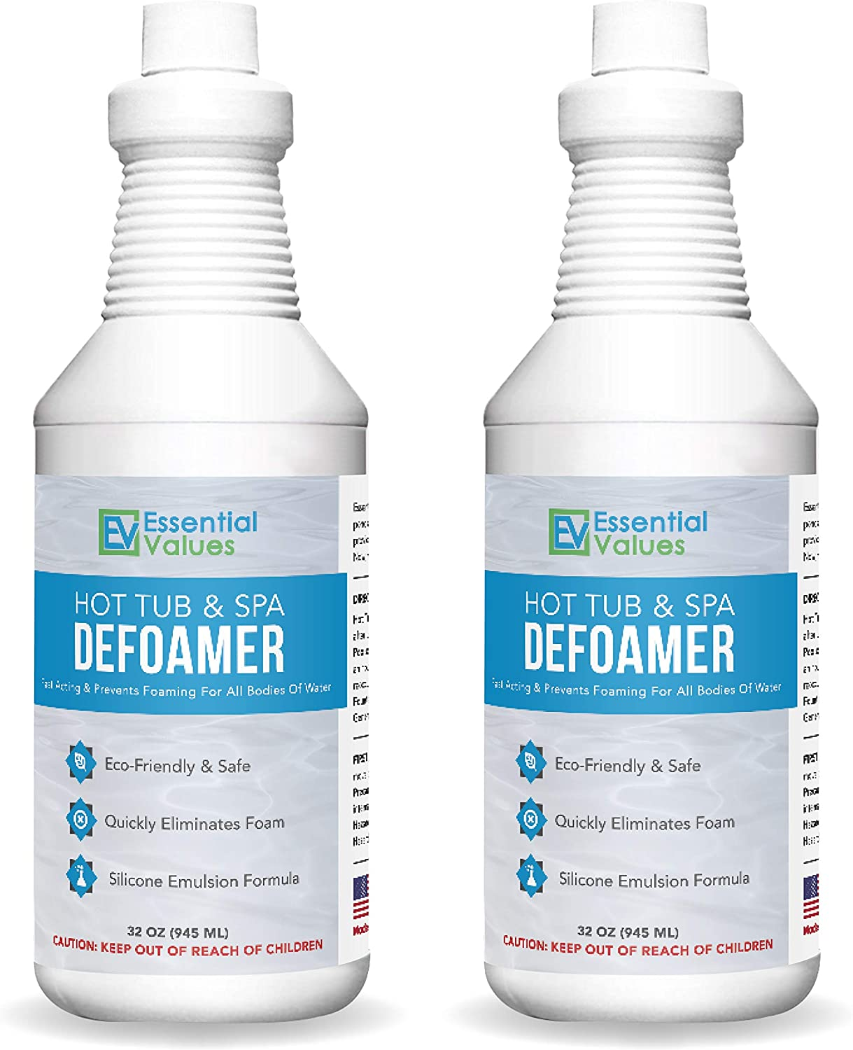 Essential Values 2 Pack Hot Tub, Pool & Spa Defoamer (32 OZ/Per Bottle) – Quickly Removes Foam Without The Use of Harsh Chemicals, Eco-Friendly & Safe with Silicone Emulsion Formula