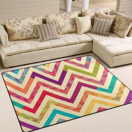 ALAZA Colorful Bright Chevron Area Rug Rugs For Living Room Bedroom ...