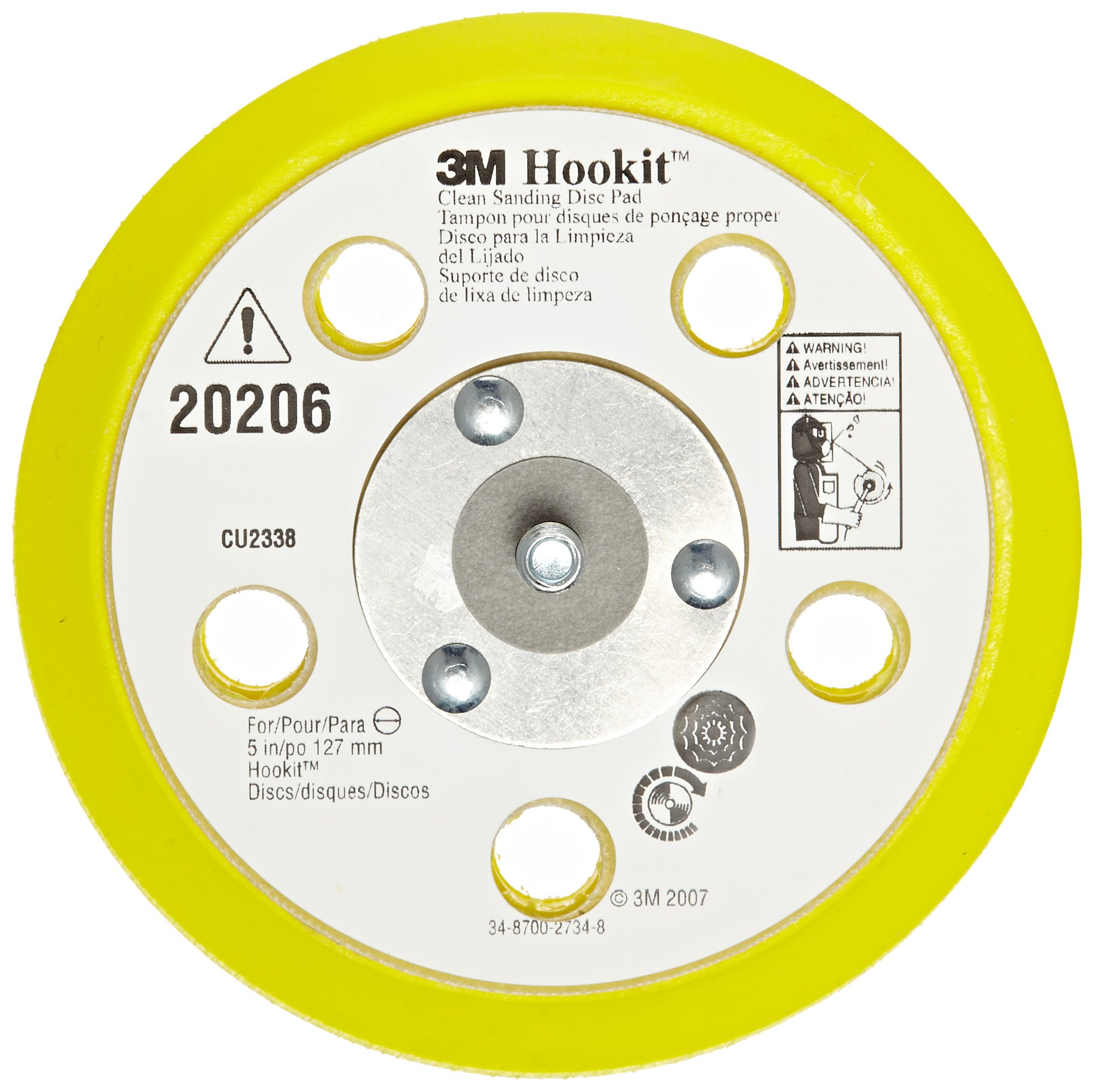 3M Clean Sanding Back Up Pad 20206, Hook-and-Loop Attachment, 5'' Diameter x 0.50'' Thick, 31 Hole (Pack of 1)