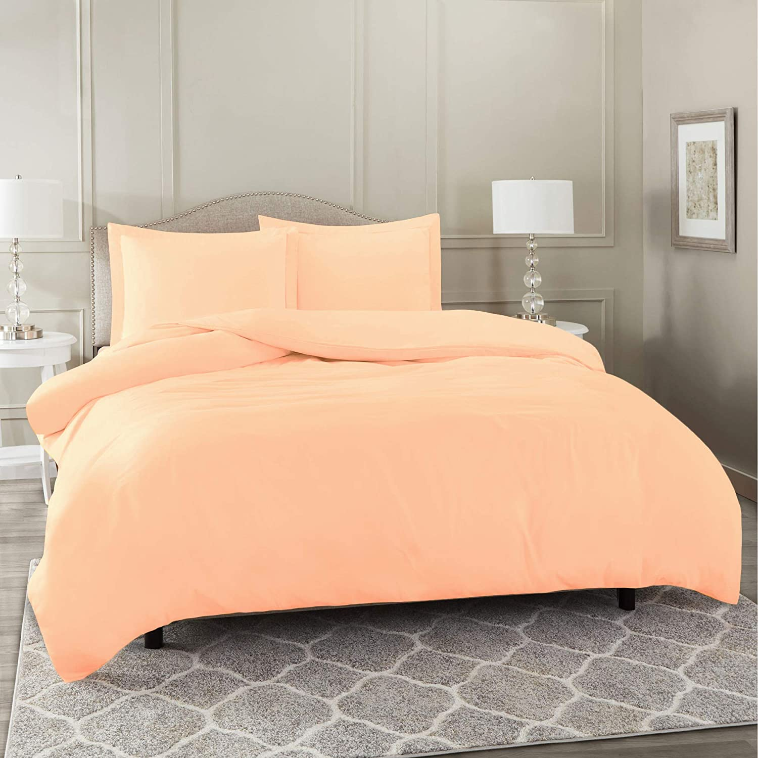 "Nestl Bedding Duvet Cover 3 Piece Set – Ultra Soft Double Brushed Microfiber Hotel Collection – Comforter Cover with Button Closure and 2 Pillow Shams, Peach - Full (Double) 80""x90"""
