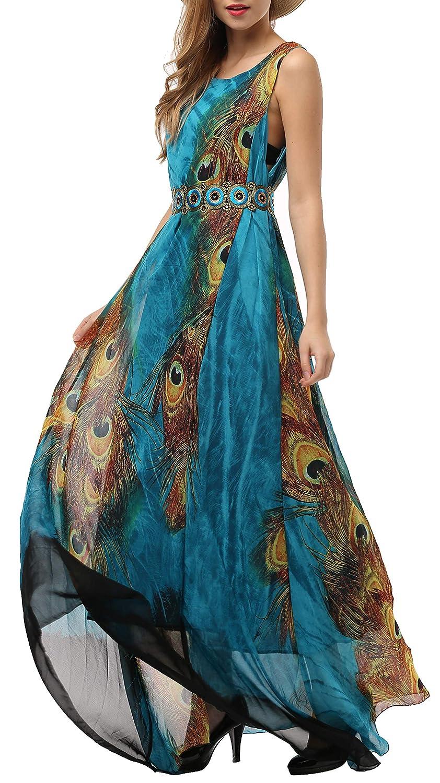 e78a72ec4877 Wantdo Women's Flowy Chiffon Maxi Dress Plus Size Summer Casual Long Dresses  with Belt at Amazon Women's Clothing store: