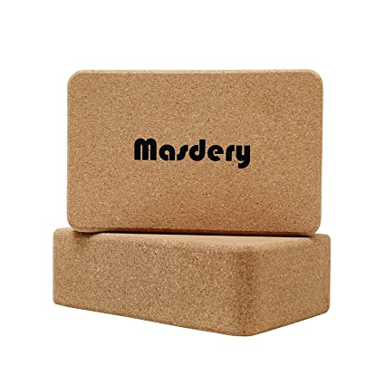 Masdery Premium Cork Yoga Block (Set of 2) Non-Slip and Natural Eco-Friendly Yoga Block Suitable for Any Type of Yoga and Pilates 9x 6x 3
