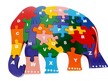 Wooden Elephant Alphabetic ABC Childrens Jigsaw Puzzle